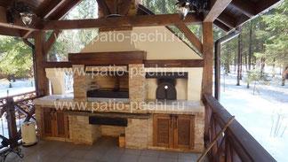 фото Барбекю многофункциональный печной комплекс с беседкой - мангал с помпейской печью (пицца)
