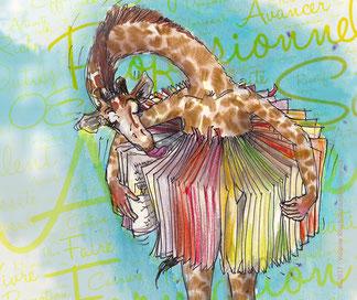 illustration de violaine kruch representant une girafe tournant les pages d'un livre