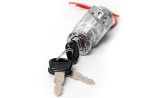 Typisches Schloss  mit Verriegelungsfunktion für den Batteriepack.