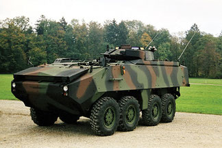 Wehrtechnik: Radpanzer Einzelradsteuerung der Gasdruckfederbeinen mit ValEvo Mganetventilen / Military Technology:  single-wheel-mounting of wheeled armoured fighting vehicles are equipped with high pressure valves vrom ValEvo AG