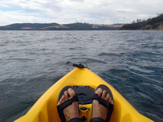 Kayak view of Bruny Island