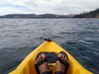 Kayak view of Bruny Island