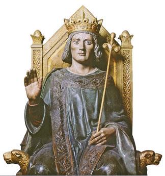Représentation de Saint Louis rendant la justice. Sculpture sur bois du Palais de Justice de Paris. TEMPLE DE PARIS