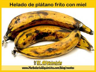 Helado de plátano frito con miel Herbolario Alquimista Arrecife Lanzarote