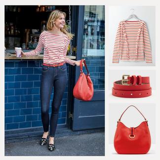 Leuchtendes Rot setzt tolle Akzente in Mustern, Gürtel, Tasche oder anderen Accessoires.