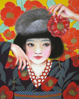 宝居智子「椿の乙女」 絹・岩絵具・金泥 F3 108,000円(税込)