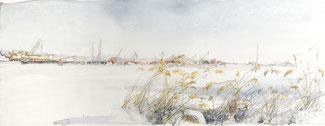 """""""Kronstadt, Blick auf den Hafen"""", Aquarell und Kreide, 24,9 × 64,7 cm, 2019"""