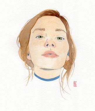Portrait, Wasserfarbe, Aquarelle, Illustration, Frauenzeichnung, Frauenportrait