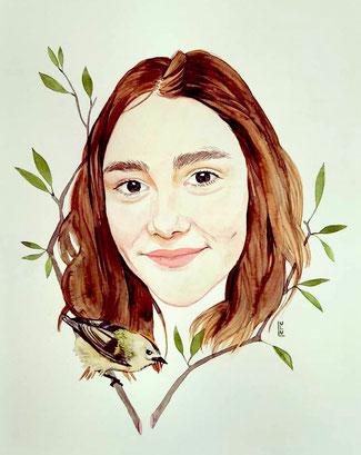 Portrait, Personalisiert, Wasserfarbe, Aquarelle, Illustration, Frauenzeichnung, Frauenportrait
