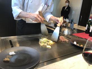 シェフのライブ調理(野菜)