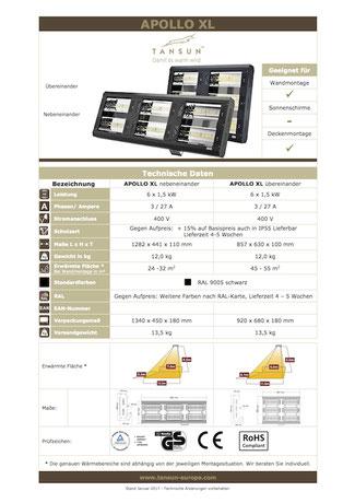 Datenblatt Infrarotheizung APOLLO XL übereinander