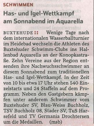 BSC-Schwimen, Vorbericht Has- und Igel-Schwimmwettkampf, Hamburger Abendblatt vom 14.09.2013