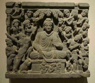 Maras Angriff, Gandhara, 3. Jh. u. Z., Schiefer, Museum für Asiatische Kunst, Berlin-Dahlem, Foto: Weil