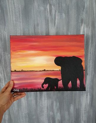 comment peindre un tableau africain avec coucher de soleil et elephant