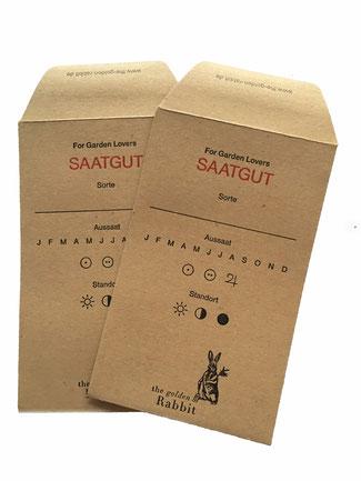 """Saatumschläge aus Natronpapier mit der Aufschrift """"Seeds"""""""