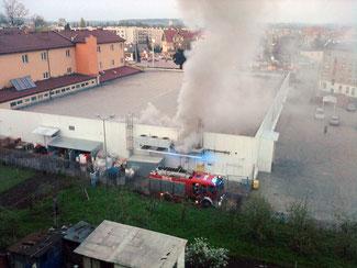 Pożar Intermarche / Strzegom 04.05.2013