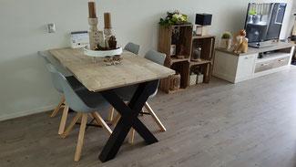 Steigerhouten tafel Limburg X-poot vanaf €249,-