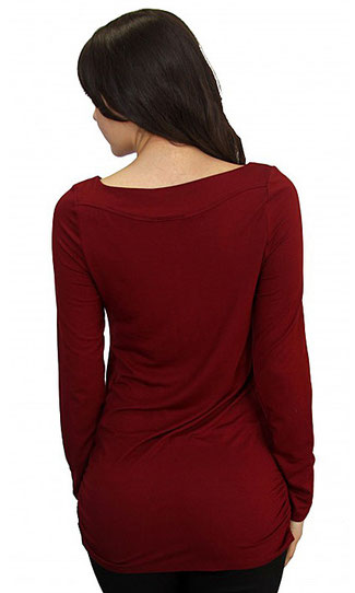 long sleeve maternity top burgundy