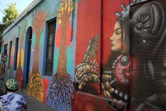 Bellavista, Straßenkunst, Kunst, Santiago de Chile, Südamerika, Chile, Die Traumreiser