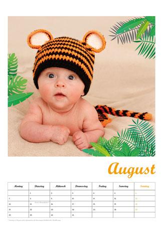 Baby-Fotokalender, Kalenderblatt August