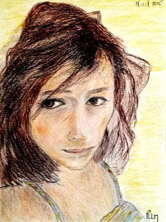 "Portait de ma fille, ""Nad, novembre 2015""RLM 2015. Crayon. Collection privée."