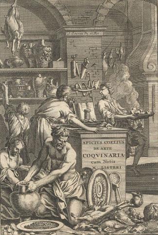 Dessin ancien : Marcus Gavius Apicius, chef cuisinier et écrivain romain (env. 25 av. J.-C)