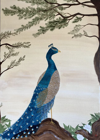 Japanese Nihonga painting showing a peacock standing on a pine tree with delicious details traditional painting