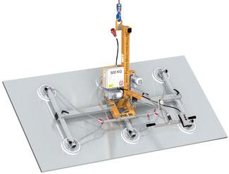 Finken Vakuumheber VHE 90 6-500 für das elektrische Schwenken von Platten und Blechen, 6 Saugplatten, Tragfähigkeit 500 Kg waagerecht und senkrecht
