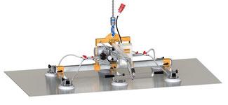 Finken Vakuumheber VH 6-250 ECO zum Heben von Klein- und Mittelformatblechen, mit robustem Handschiebeventil und einzeln abschaltbaren Saugern, Traglast bis 250 Kg