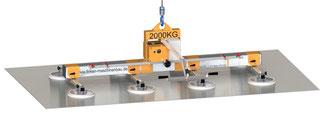 effizienter, Akkubetriebener Finken Vakuumheber VH 8-2000 DC zum Transport von Großformatblechen bis 2000 Kg, Batteriebetrieb, integriertes Ladegerät, energieunabhängig