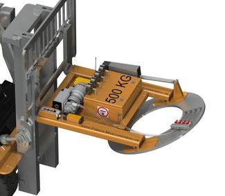 Finken Vakuumheber zum 90° Schwenken von Coils bis 500 Kg. Gabelstapleranbaugerät mit elektrischer Schwenkeinrichtung.