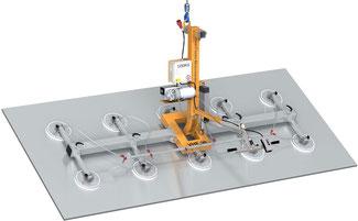 Finken Vakuumheber VHE 90 10-1250 für das elektrische Schwenken von großen Platten und Blechen, 10 Saugplatten, Tragfähigkeit 1250 Kg waagerecht und senkrecht