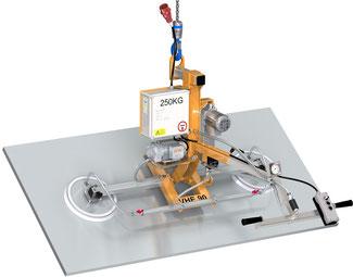 Finken Vakuumheber VHE 90 2-250 für das elektrische Schwenken von eigenstabilen Platten, 2 Saugplatten, Tragfähigkeit 250 Kg waagerecht und senkrecht