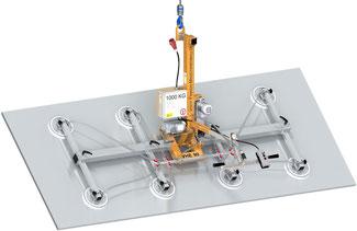 Finken Vakuumheber VHE 90 8-1000 für das elektrische Schwenken von Platten und Blechen, 8 Saugplatten, Tragfähigkeit 1000 Kg waagerecht und senkrecht