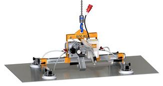 Finken Vakuumheber für den horizontalen Transport von eigenstabilen Platten, 4 Sauger, Traglast 500 Kg
