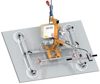 Finken Vakuumheber VHE 90 4-300 für das elektrische Schwenken von eigenstabilen Platten, 4 Saugplatten, Tragfähigkeit 300 Kg waagerecht und senkrecht