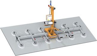 Finken Vakuumheber VHE 90 12-1500 für das elektrische Schwenken von großen Platten und Blechen, 12 Saugplatten, Tragfähigkeit 1500 Kg waagerecht und senkrecht