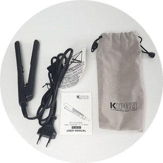 Verpackungsinhalt Kipozi Mini Haarglätter