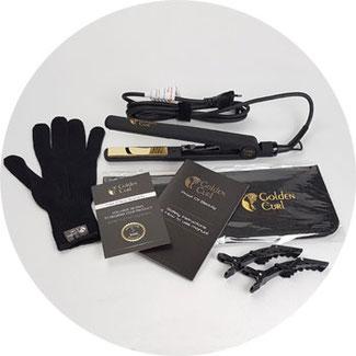 Verpackungsinhalt: Golden Curl Glätteisen, hitzebeständige Tasche, 2 Krokodilklammern, Hitzeschutz-Handschuh, Bedienungsanleitung