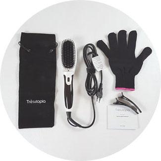 """Verpackungsinhalt """"Tres Utopia Hair Straightening Brush"""": Elektrische Haarbürste zum Glätten, Aufbewahrungsbeutel, Hitzeschutzhandschuh, 2 Haarklammern und Bedienungsanleitung"""