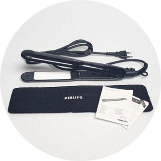 Verpackungsinhalt: Haarglätter Philips, hitzebeständige Tasche und Bedienungsanleitung