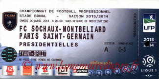 Ticket  Sochaux-PSG  2013-14