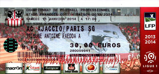 Ticket  Ajaccio-PSG  2013-14