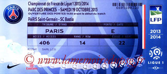 Ticket  PSG-Bastia  2013-14