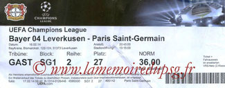 Ticket  Bayer Leverkusen-PSG  2013-14