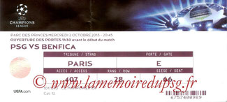 Ticket  PSG-Benfica  2013-14
