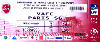 Ticket  Valenciennes-PSG  2013-14