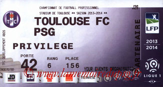 Ticket  Toulouse-PSG  2013-14