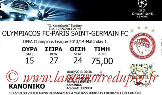 Ticket  Olympiakos-PSG  2013-14