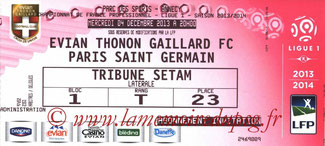 Ticket  Evian TG-PSG  2013-14